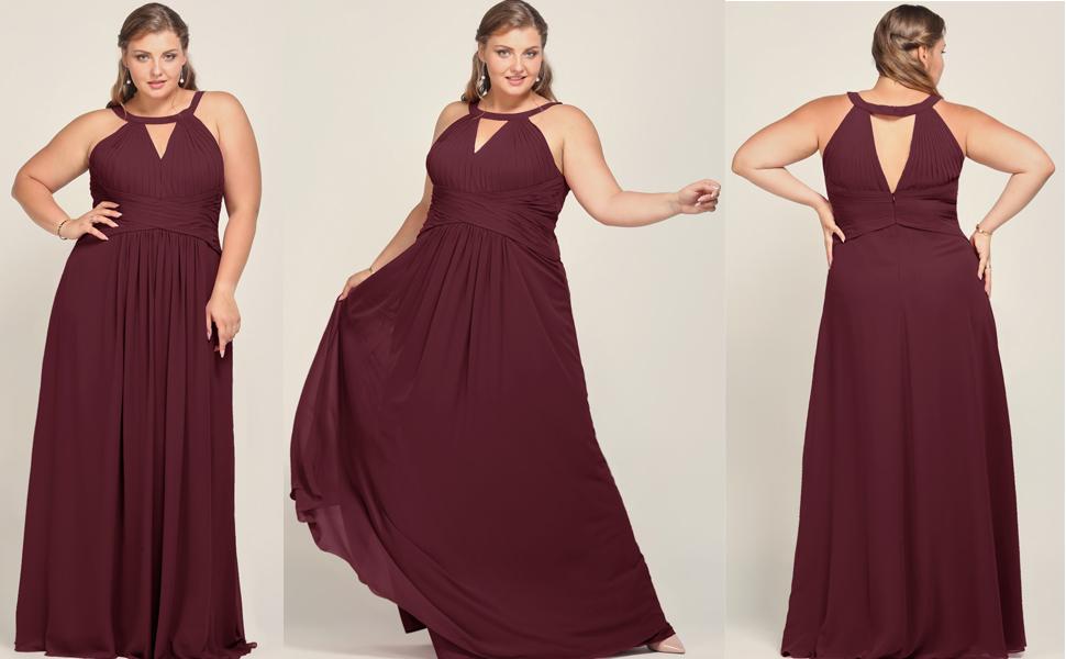 Alicepub Plus Size Bridesmaid Dress Long Chiffon Formal ...