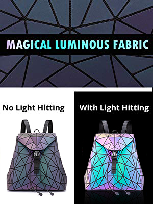 Geometric Luminous Backpack for Women Holographic Reflactive Purses Bag 3PCS Set