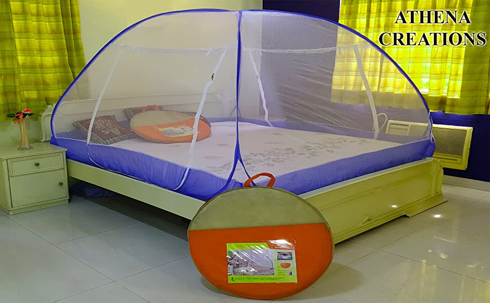 Athenacreations Double Bed Foldable Mosquito Net (Pink)