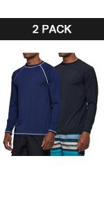 Men's 2 Pack Rashguard UPF 50+ Swim Shirts