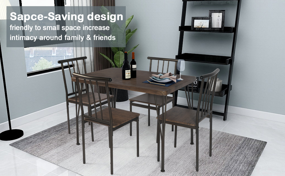 Rectangular Dining Room Table and 4 Chairs Set