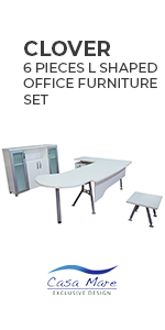 Clover 6 Pieces L Shaped Office Furniture Set