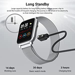 smart watch  Anmino Smart Watch with Heart Rate Monitor BP Fitness Tracker IP68 Waterproof Activity Tracker Full Touch Screen Smartwatch Sleep Monitor Calorie Step Counter SMS Call Notification(Black Steel) e9e63eac a637 4245 bf45 91d824e00302