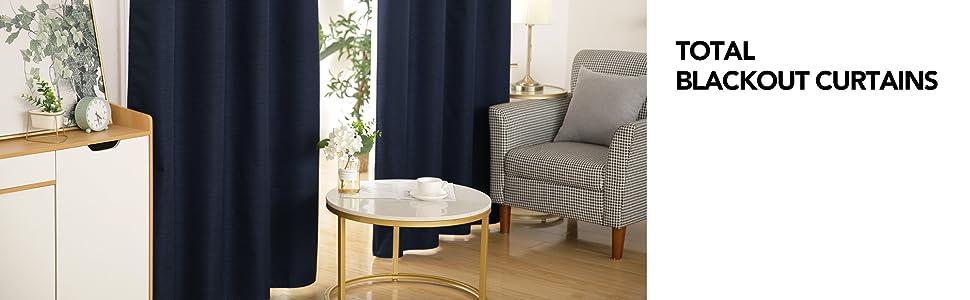 blackout window curtains stripes pattern 8 grommet bedroom living dinning 2 panels set navy blue