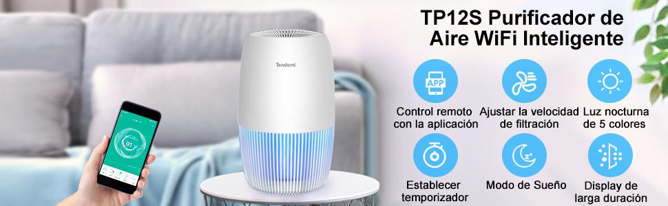 TENDOMI Purificador de Aire para el Hogar Oficina, Purificadores de Aire HEPA con Filtro,WiFi Inteligente Air Purifier Capturar Alergias, Polen, Humo, Olor y Caspas de Mascota,el Ahorro de Energía: Amazon.es: Hogar