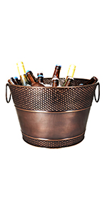 hillcrest, copper, antique, galvanized, steel, round, beverage, party, bucket, ice, wine, beer