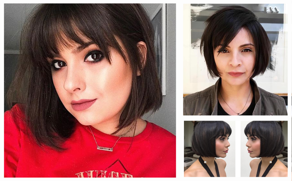 Queentas 11inches Human Hair Bob Wigs with Bangs Short Straight Bob Mid-Length for Black Women