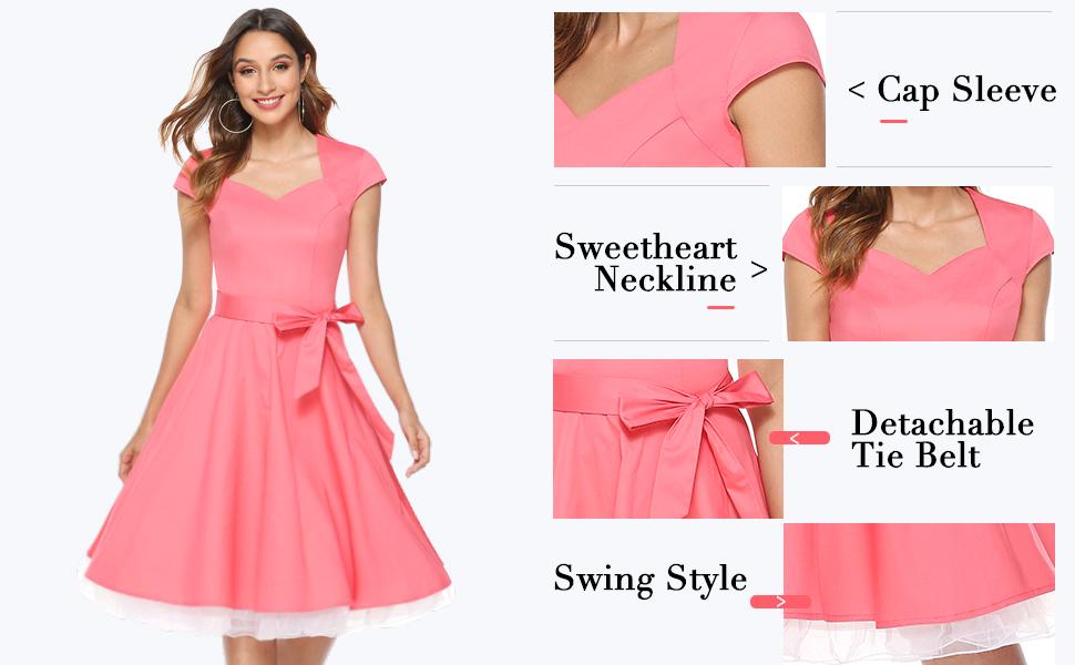 Cap sleeve, sweetheart neckline, detachable tie belt, swing style