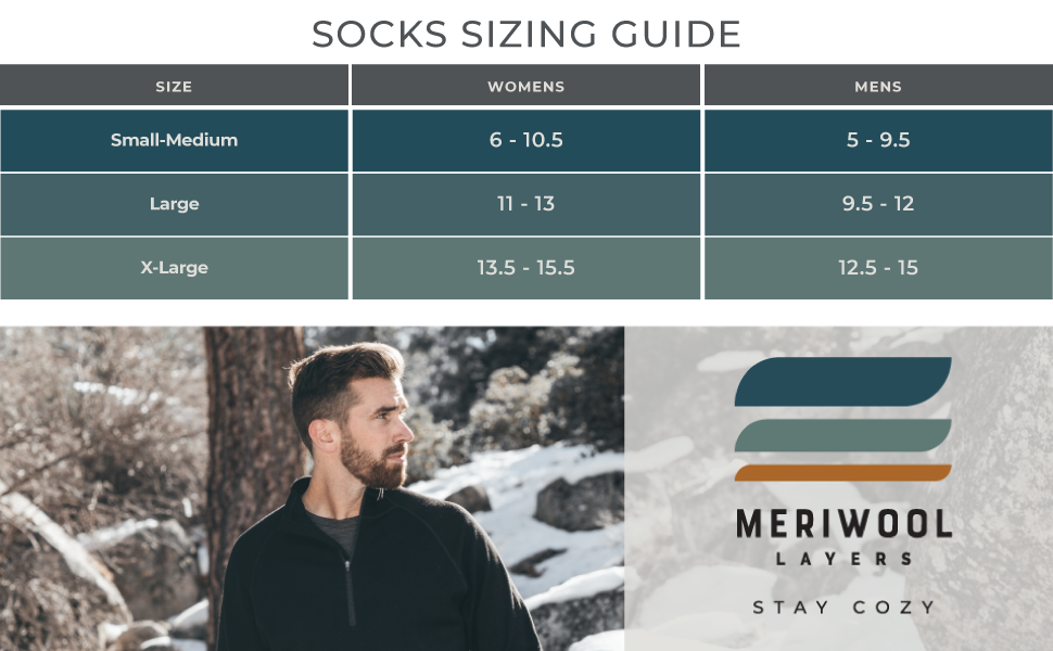 merino wool hiking sock come in small, medium, large and extra large, ideal for anyone in the family