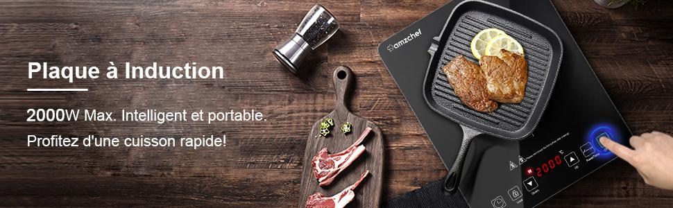 Plaque Induction Portable Amzchef, plaque de cuisson à induction de 2000W plaque induction 1 foyer
