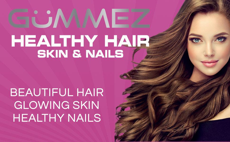 Gummez Healthy Hair Skin amp; Nails - Hair Bear Gummies for Beautiful Hair Glowing Skin amp; Healthy Nails