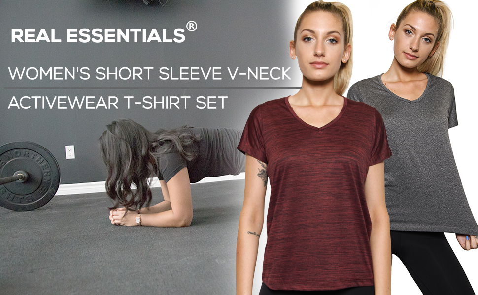 Ideal V-Neck Short Sleeve Active Top for Yoga, Exercise, Fitness, Gym, Running