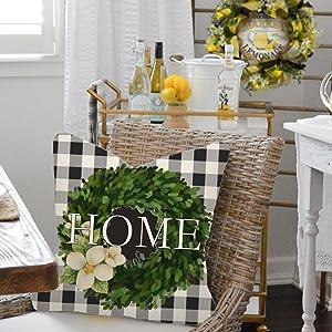 Porch black white green flowers seasonal holiday decoration lettering retro vintage happy 45x45