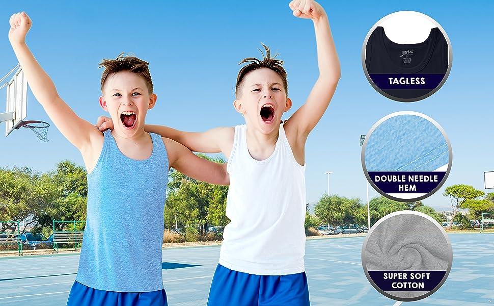 Amazon.com: Brix Boys Undershirt Tank Top - Tagless 100% Cotton Super Soft  4 Pack Novelty.: Clothing