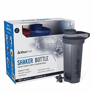bluepeak shaker bottle 28 oz ounces blender bottle protein supplements creatine