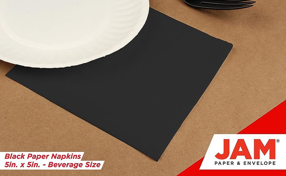 Amazon Com Jam Paper Small Beverage Napkins 5 X 5 Black 50 Pack Kitchen Dining