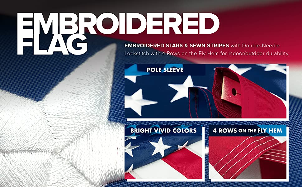 embroidered US flag, 150d, 3x5, pole sleeve, vivid colors, 4 rows on the fly hem
