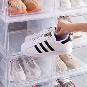 magnetic shoe storage box,shoe boxes clear plastic stackable Clear shoe  Plastic Shoe box shoe case