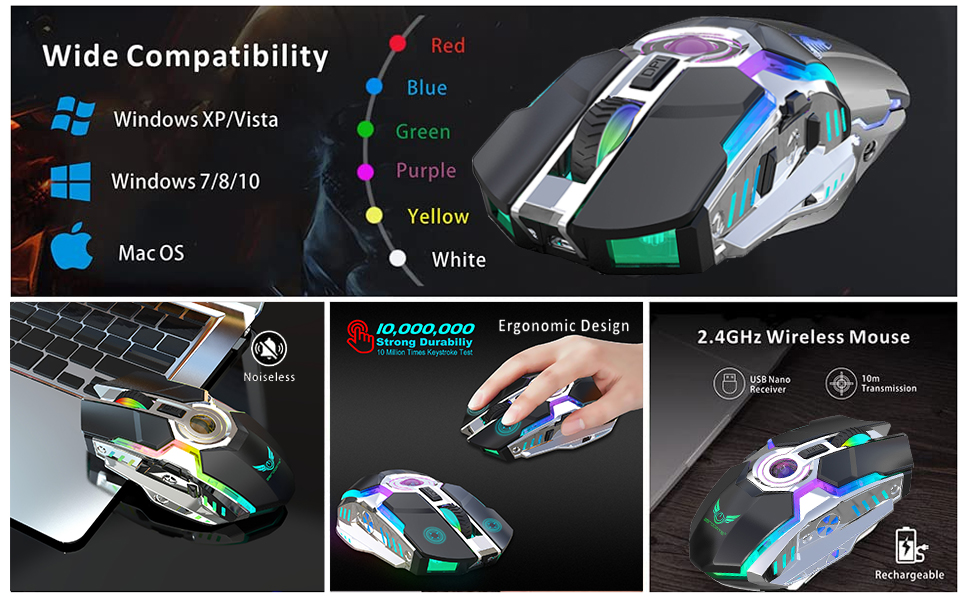 Wireless Mouse with 2400 DPI