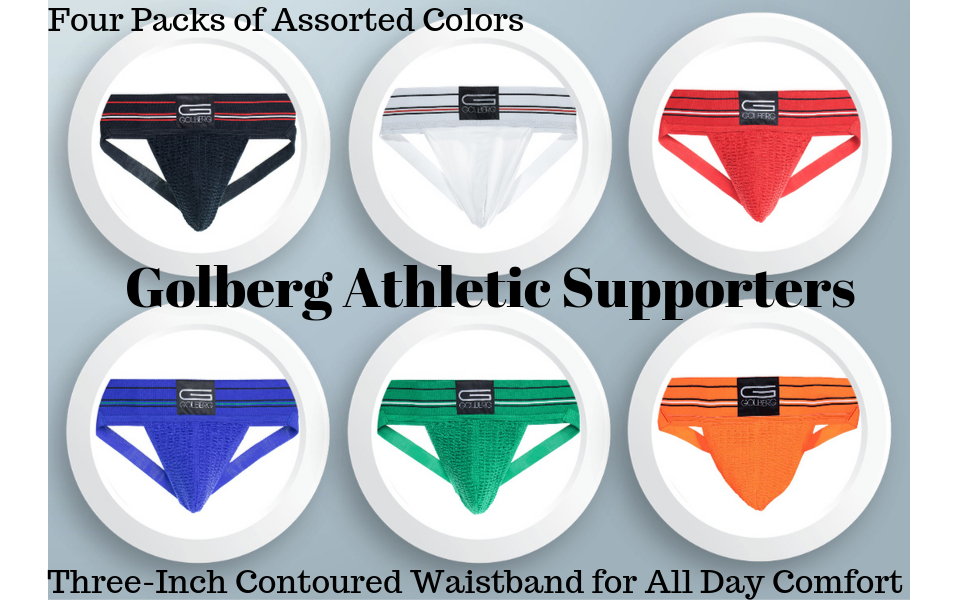 header 4 pack assorted colors golberg athletic supporters