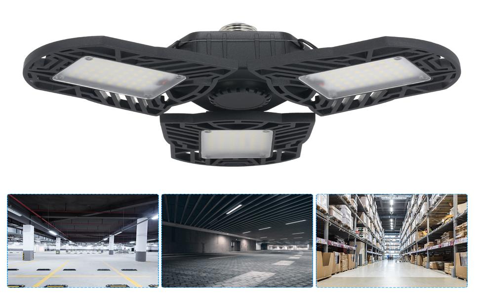 IP44 E27 LED Folding Garage Light AC85-265V High Bay Lamp Industrial Lighting