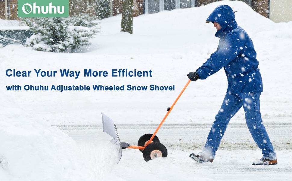 Ohuhu snow shovel, adjustable wheeled snow pusher for driveway
