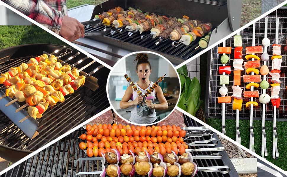 BBQ Shish Kebab Skewers grillspiesse Stainless Steel Schampura Stainless Steel 40,50,60 cm
