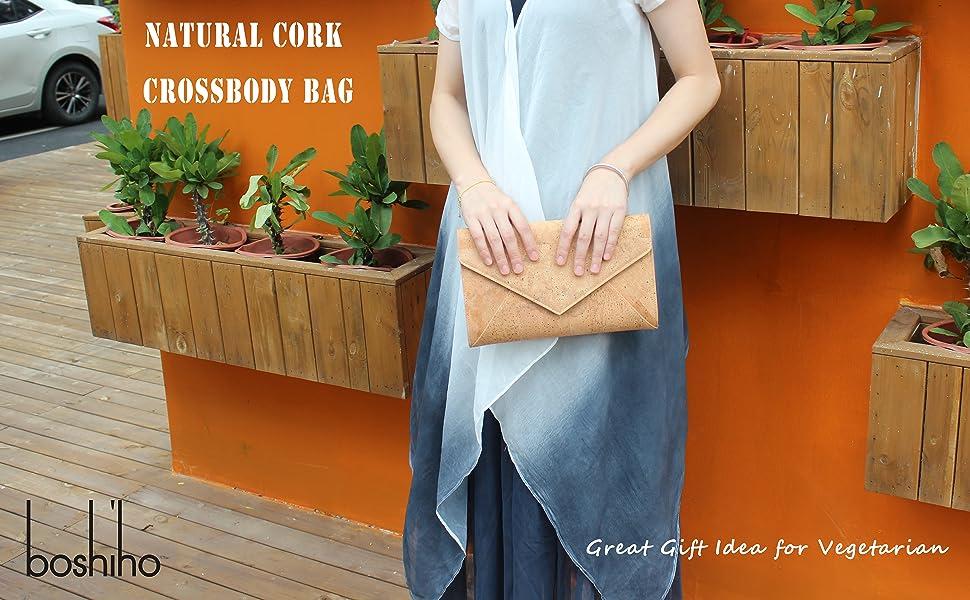 natural cork crossbody handbag