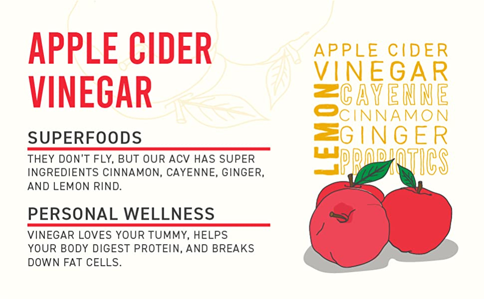 """Red apples with graphic of ingredients. """"Apple Cider Vinegar with Superfoods for Personal Wellness."""""""
