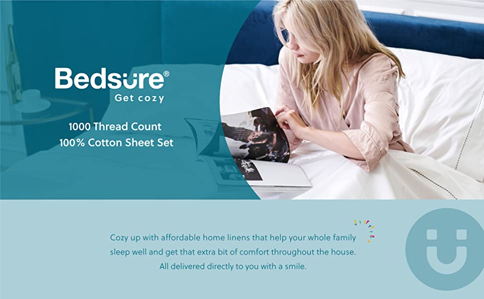 get cozy with the Bedsure 1000 Thread Count Bed Sheets, 100% Pure Long-Staple Cotton Sheets, 4-Pc Queen Size Sheet Set