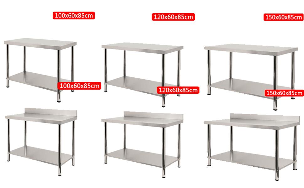 100cm Edelstahltisch Edelstahl Arbeitstisch Küchentisch Tisch Höhenverstellbar