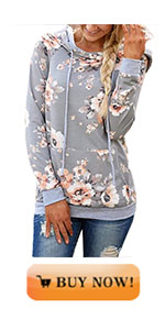 onlypuff Floral Hoodie Sweatshirts for Women Loose Fit Tunic Tops Pockets
