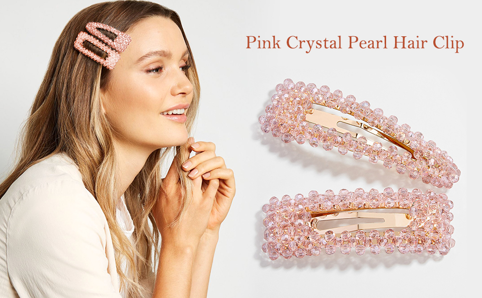 Pink Crystal Facet Pearl Hair Clip