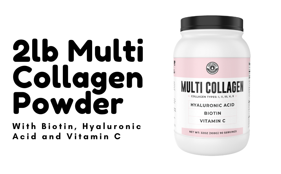 2lb Multi Collagen Peptide Powder with Biotin, Hyaluronic Acid and Vitamin C for women, nails, hair