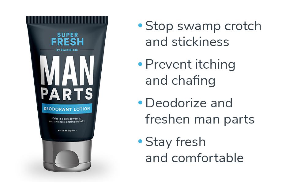 Super Fresh Man Parts Ball Deodorant and Wash by SweatBlock