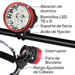 GHB Foco Bicicleta Luces para Bicicleta Impermeable IPX-5 9LED T6 15000LM con Batería y Cargador: Amazon.es: Deportes y aire libre