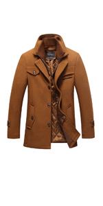 ダブル襟 コート メンズ 厚手 ウール製