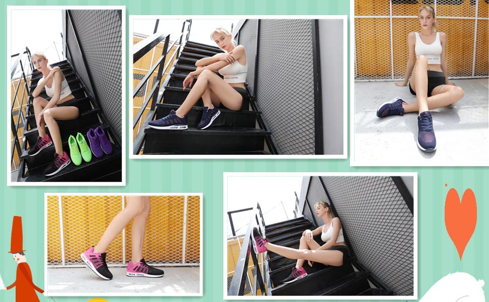 Running Shoes Ladies Trainers Womens Mesh Low Top Sneakers