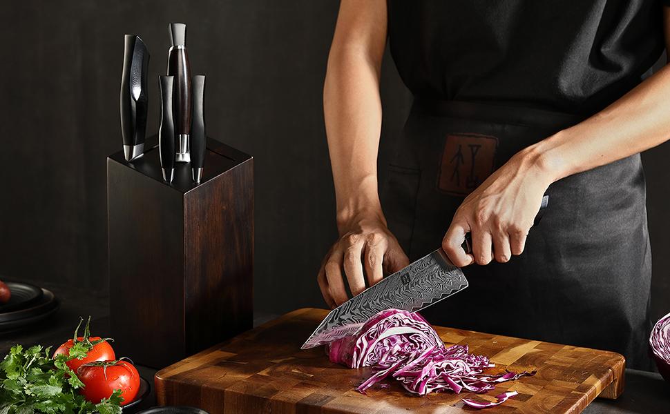 Professional Damascus Steel 7-piece Kitchen Set