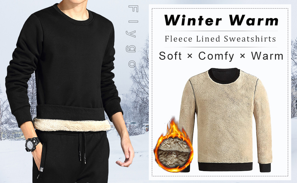 Flygo Men's Fleece Sherpa Lined Crewneck Long Sleeve Sweatshirt