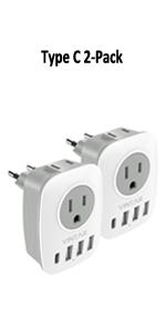 2-Pack 6 in 1 European Plug Adapter
