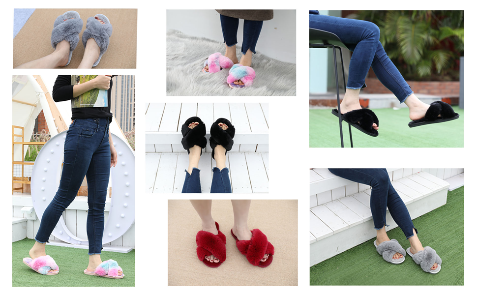 Cross Open Toe Fuzzy Fluffy House Slippers for Women Cozy Memory Foam Plush Furry Slides Slippers