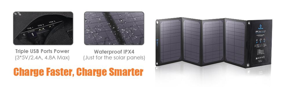 BigBlue 3 USB Ports 28W Solar Charger (5V/4.8A Max Total) Foldable ...