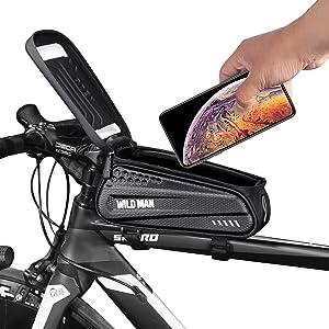 K-S-Trade/® Per Huawei Mate 20 Lite Borse Telaio Bicicletta Borsa Bici Supporto Tubo Borsetta Fissare al Telaio Custodia Fascia Porta Cellulare Ciclismo per Huawei Mate 20 Lite Argento Nero,