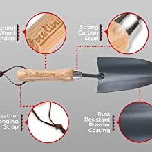 Durable, long lasting crafted by nature tools, no plastic, carbon steel, wood handles