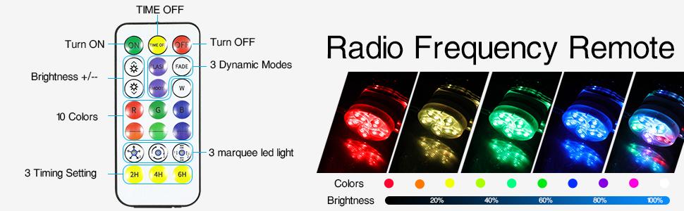 RF remote control pool lights
