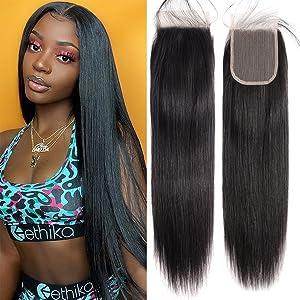 Straight Lace Closure Transparent 4x4 Lace Closre Brazilian Virgin Human Hair Free Par Closure