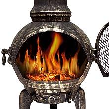Terrassen-Ofen Gartenkamin schwere Qualität aus Gusseisen 70 cm Kaminofen