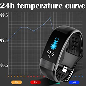 this smart bracelet with body temperature monitor, automatically detects all day