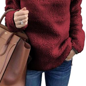 onlypuff Sherpa Jacket Women Pullover Sweaters Fleece Sweatshirt Tunic Blouse